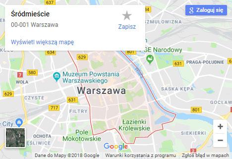 Mapa Google hydraulik Warszawa Śródmieście